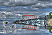 Trippy Photos - Reflections Lifeboat Houses and Smoke Cones by Steve Purnell