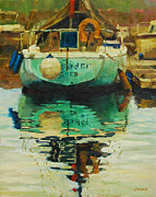 Sailboat Ocean Paintings - Reflections of a Crusader by Jeanne Young