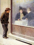 Neo Impressionism Prints - Reflections of a Hungry Man or Social Contrasts Print by Emilio Longoni