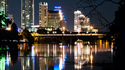 Austin At Night Framed Prints - Reflections of Austin Skyline in Lady Bird Lake at night 04 Framed Print by Jeff Kauffman