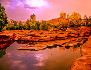 Cathedral Rock Paintings - Reflections of Cathedral Rock by Nadine and Bob Johnston