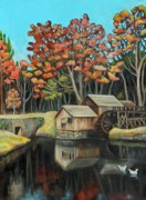 Autumn Landscape Painting Framed Prints - Reflections of Mabry Mill Framed Print by Eve  Wheeler