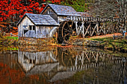 Old Mills Framed Prints - Reflections of Mabry Mill Framed Print by Lynn Bauer