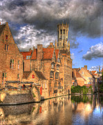 Belgium Photo Metal Prints - Reflections of Medieval Buildings Metal Print by Juli Scalzi