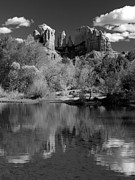 Red Rock Crossing Prints - Reflections of Sedona Black and White Print by Joshua House