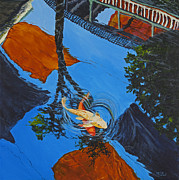Koi Painting Posters - Reflections Of The Wharf Poster by Darice Machel McGuire