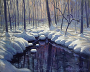 Snowy Brook Paintings - Reflections of Winter by David Henderson