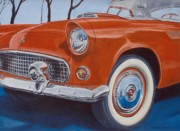 T-bird Painting Framed Prints - Reflections on a 55 T-Bird Framed Print by Rick Spooner