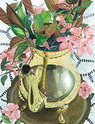 Teapot Paintings - Reflections on a Brass Teapot by Barbara Jewell