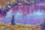 Orange Green Pastels Posters - Reflections on a Pond Poster by Michael Camp