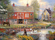 Kinkade Framed Prints - Reflections on Country Living Framed Print by Chuck Pinson