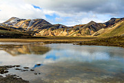 Reflections On Landmannalaugar Print by Peta Thames