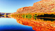 Reflections On The Colorado River Print by Nadine and Bob Johnston