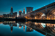 Downtown Framed Prints - Reflections on the Cuyahoga Framed Print by At Lands End Photography