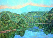 Blue Ridge Parkway Paintings - Reflections on the James River by Kendall Kessler