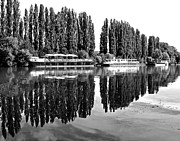 Auvers Sur Oise Prints - Reflections on the River Oise Print by Alex Cassels