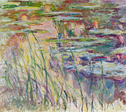 Landscape Plants Prints - Reflections on the Water Print by Claude Monet