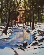 Snowy Trees Paintings - Reflections by Terry Godinez