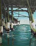 Tiki Bar Painting Prints - Reflections under the Pier Print by Bruce Reigle
