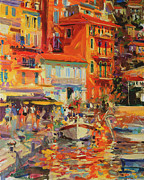 Warm Colors Paintings - Reflections - Villefranche by Peter Graham