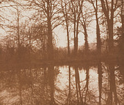 Sepia White Nature Landscapes Posters - Reflections Poster by William Henry Fox Talbot