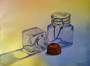 Water Jars Paintings - Reflective Still Life Jars by Brenda Brown