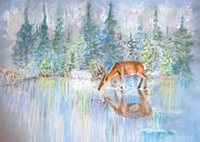 Deer Drinking Water Prints - Refreshed  Print by Julia Bowman