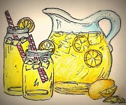 Water Jars Painting Metal Prints - Refreshing Ahhh Metal Print by Marla Hoover
