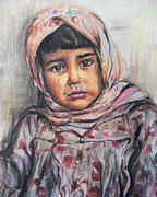 War Pastels Framed Prints - Refugee child Framed Print by Melanie Alcantara Correia