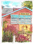 Tasting Painting Framed Prints - Refugio-Ranch-Tasting-Room-in-Los-Olivos-CA Framed Print by Carlos G Groppa