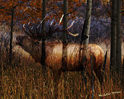 Michelle Mixed Media Posters - Regal Elk Poster by Wishes and Whims Originals By Michelle Jensen