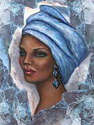 Regal Lady In Blue Print by Alga Washington