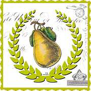 Pear Art Mixed Media Posters - Regal Pear Vintage Print Poster by Anahi DeCanio