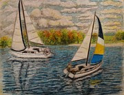 Sailboat Ocean Pastels - Regatta 1 by Andrew Pierce