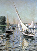 Sailboat Ocean Posters - Regatta at Argenteuil Poster by Gustave Caillebotte
