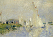 Boats At Dock Framed Prints - Regatta at Argenteuil Framed Print by Pierre Auguste Renoir