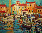 Docked Boat Painting Prints - Regatta Print by Brian Simons