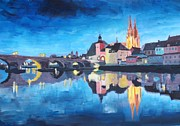 Acryl Framed Prints - Regensburg Bavaria at Dawn Framed Print by M Bleichner