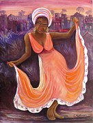 Evening Dress Paintings - Reggae Night by Carol Allen Anfinsen