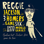 Yankees Art Prints Framed Prints - Reggie Jackson New York Yankees Framed Print by Jay Perkins