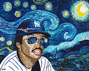Yankees Painting Originals - Reggie Jackson Starry Night by Jeff Gomez