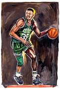 Boston Celtics Drawings Framed Prints - Reggie Lewis Twenty Years Gone by.... Framed Print by Dave Olsen