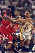 Pacers Photo Prints - Reggie Miller vs Michael Jordan Poster Print by Sanely Great
