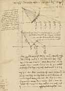 Ink Drawing Drawings - Register of Milan Cathedral weight and study of relationship between position of beam by Leonardo Da Vinci