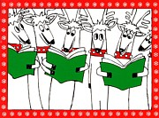 Christmas Card Digital Art Metal Prints - Reindeer Choir Metal Print by Genevieve Esson