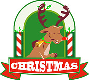 Stag Digital Art - Reindeer Deer Stag Buck Christmas by Aloysius Patrimonio