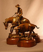 Animals Sculptures - Reined Cowhorse bronze by Kim Corpany