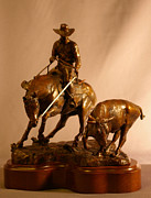 Cowboy Sculpture Posters - Reined Cowhorse Bronze Sculpture Poster by Kim Corpany
