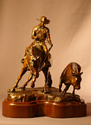 Western Sculpture Posters - Reined Cowhorse bronze sculpture titled TURNBACK Poster by Kim Corpany