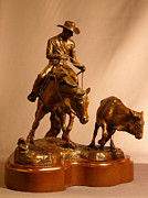 Cowboy Sculpture Posters - Reining Cow Horse bronze sculpture Poster by Kim Corpany